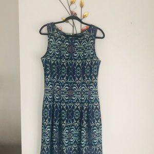 Gabby Skye Print Fit & Flair Dress Zip back 12